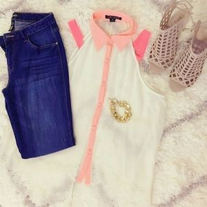 Neon pinks and off white button down blouse
